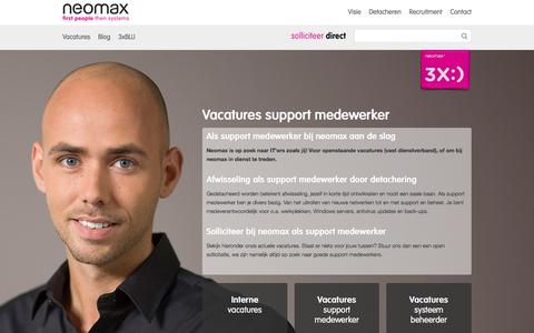 Screenshot of Support Page neomax.nl - IT support vacatures - captured Feb. 25, 2016