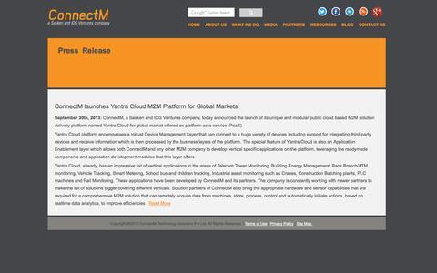 Screenshot of Press Page connectm.com - ConnectM: Delivering Intelligent M2M Solutions - captured Sept. 13, 2014