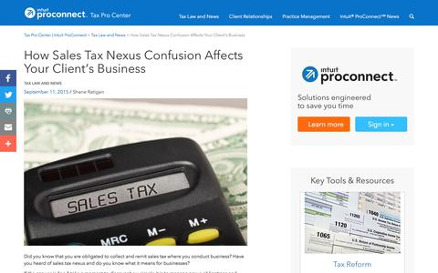 Screenshot of Press Page intuit.com - How Sales Tax Nexus Confusion Affects Your Client's Business | Tax Pro Center | Intuit ProConnect - captured Nov. 21, 2019