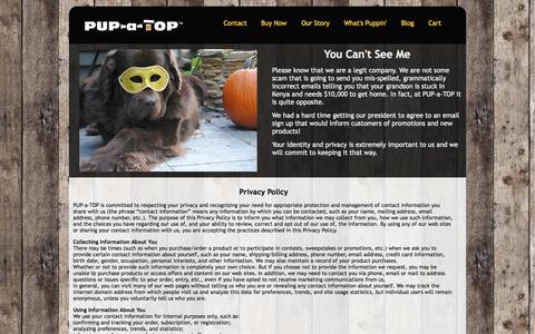 Screenshot of Privacy Page pupatop.com - Privacy Policy | PUP-a-TOP - captured Oct. 1, 2014