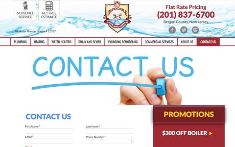 Screenshot of Contact Page bzdependable.com - Contact Us - B.Z. Dependable - captured Dec. 18, 2018