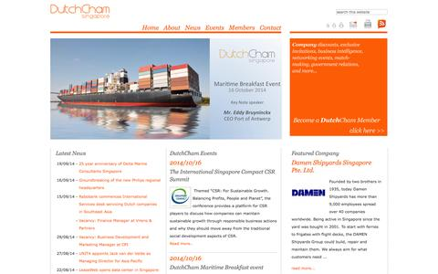 Screenshot of Home Page dutchcham.sg - Dutch Chamber of Commerce Singapore - captured Oct. 5, 2014