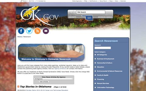 Screenshot of Press Page ok.gov - Welcome to Oklahoma's Official Web Site - captured Oct. 10, 2014