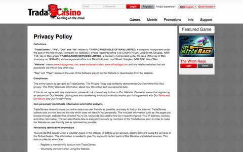 Screenshot of Privacy Page tradacasino.com - Privacy policy - TradaCasino.com - captured Oct. 29, 2014