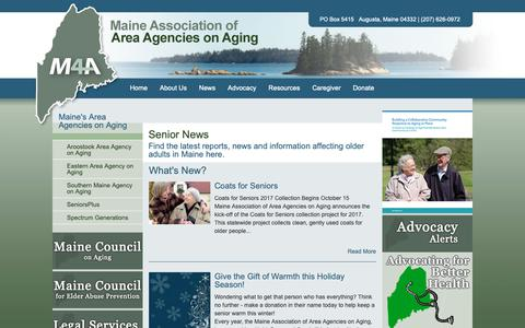 Screenshot of Press Page maine4a.org - M4A - Maine Association of Area Agencies on Aging - captured Oct. 2, 2018