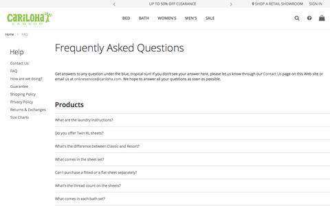 Screenshot of FAQ Page cariloha.com - FAQ - captured Oct. 31, 2019
