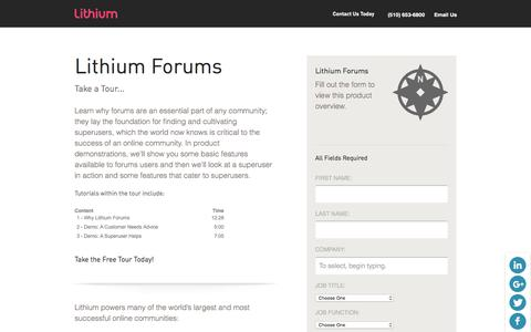 Screenshot of Landing Page lithium.com - Lithium - Resources - Product Tours - Demo Lithium Forum and Communities Online Social CRM Software Solutions - captured Dec. 23, 2015