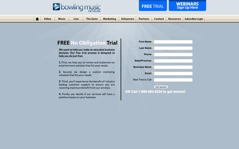 Screenshot of Trial Page bowlingmusic.com - Bowling Music Network / Free Trial - captured Oct. 5, 2014