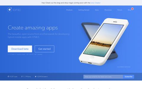 Screenshot of Home Page ionicframework.com - Ionic: Advanced HTML5 Hybrid Mobile App Framework - captured Sept. 18, 2014