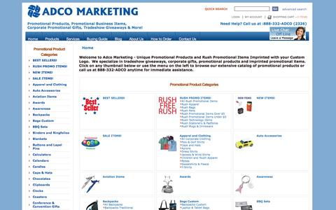 Screenshot of Products Page adcomarketing.com - Adco Marketing Promotional Items & Promotional Products - captured July 24, 2016