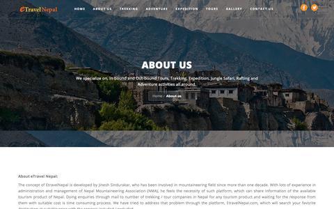 Screenshot of About Page etravelnepal.com - About us-Etravel Nepal - captured July 22, 2018