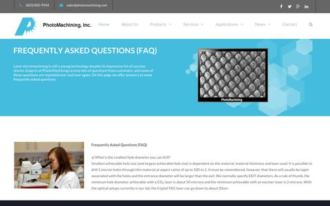 Screenshot of FAQ Page photomachining.com - FREQUENTLY ASKED QUESTIONS (FAQ) | PhotoMaching, Inc. - captured Dec. 14, 2018