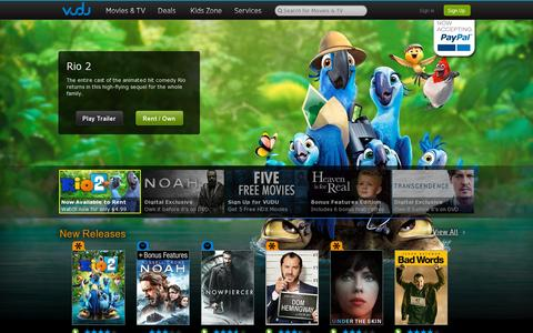 Screenshot of Home Page vudu.com - VUDU - Rent, buy & watch HD movies and TV shows on-demand - captured July 17, 2014