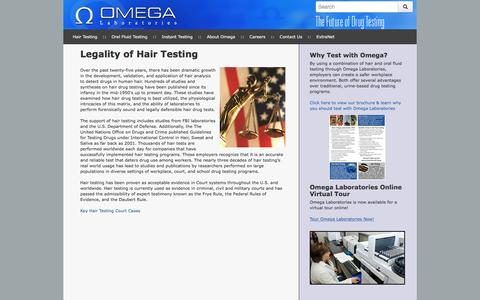Screenshot of Products Page omegalabs.net - Employer Drug Testing Legality of Hair Testing - Omega Laboratories - captured Dec. 2, 2016