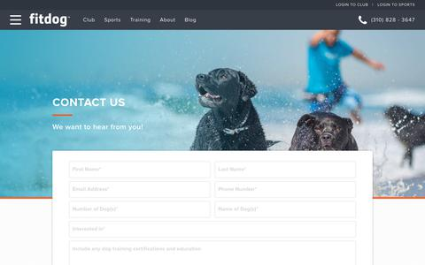 Screenshot of Contact Page fitdog.com - Contact Us | Fitdog | You have questions, we have answers - captured Oct. 10, 2018