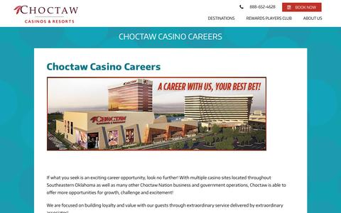 Screenshot of Jobs Page choctawcasinos.com - Choctaw Casino Careers - captured July 29, 2017