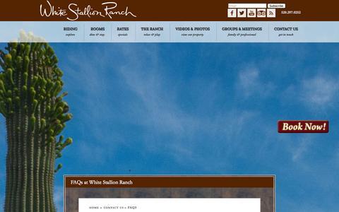 Screenshot of FAQ Page whitestallion.com - FAQs at White Stallion Ranch | Guest Ranch, Tucson, AZ - captured Oct. 7, 2014