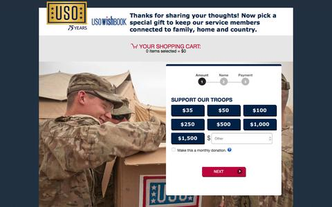 Screenshot of Landing Page uso.org - USO Wishbook | USO.org - captured Oct. 20, 2016