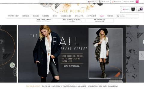 Screenshot of Home Page freepeople.com - Free People - Women's Boho Clothing & Bohemian Fashion - captured Sept. 19, 2014