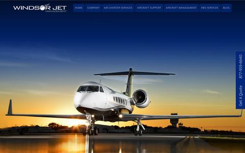 Screenshot of Home Page windsorjet.com - Windsor Jet Management - - captured Sept. 11, 2015