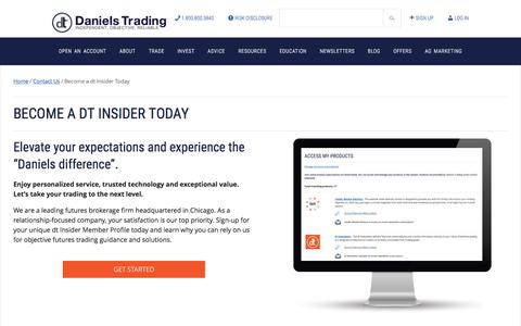 Screenshot of Signup Page danielstrading.com - Become a dt Insider Today | Daniels Trading - captured June 3, 2017