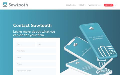 Screenshot of Contact Page sawtootham.com - Contact Us - Sawtooth Solutions UMA Platform Provider - captured Oct. 1, 2018