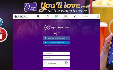 Screenshot of Login Page regmovies.com - Regal Crown Club | Free Movies, Discounts & More - captured Sept. 21, 2018