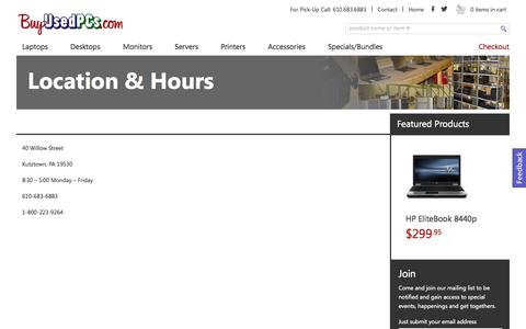 Screenshot of Hours Page buyusedpcs.com - Location & Hours « BuyUsedPCs e-commerce BuyUsedPCs e-commerce - captured Oct. 29, 2014