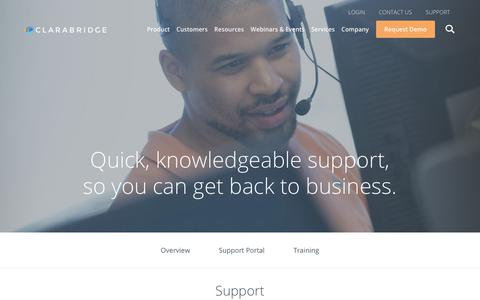 Screenshot of Support Page clarabridge.com - Clarabridge Customer Service & Support Center - captured Sept. 20, 2018