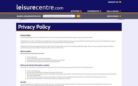 Screenshot of Privacy Page leisurecentre.com - Privacy Policy - LeisureCentre.com - captured Oct. 22, 2014