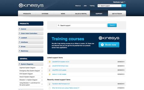 Screenshot of Support Page kinesys.co.uk - Kinesys  - Support - captured Sept. 30, 2014