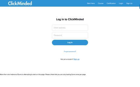 Screenshot of Login Page teachable.com - ClickMinded - captured April 22, 2017