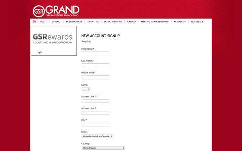 Screenshot of Signup Page grandsierraresort.com - Grand Sierra Resort Hotel Reservations - captured Oct. 22, 2014