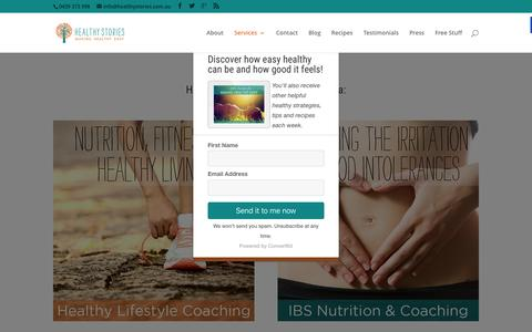 Screenshot of Services Page healthystories.com.au - How you can work with Glenda Bishop | Healthy Stories - captured March 25, 2016