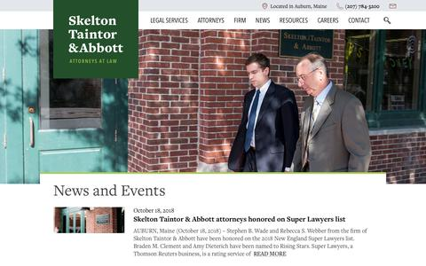 Screenshot of Press Page sta-law.com - News and Events Archives - Skelton Taintor & Abbott - captured Oct. 18, 2018