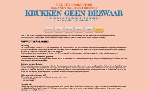 Screenshot of Privacy Page luktut.com - Krukken geen bezwaar - Luk Tut Producties | uw privacy - captured Sept. 30, 2018