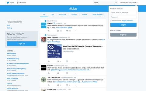 Screenshot of Jobs Page twitter.com - #jobs hashtag on Twitter - captured July 16, 2016