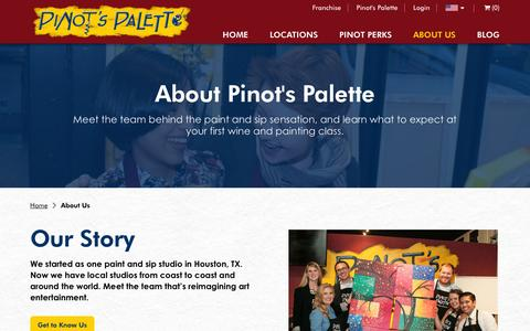 Screenshot of About Page pinotspalette.com - Learn About Paint & Sip Events at Pinot's Palette - captured April 15, 2016