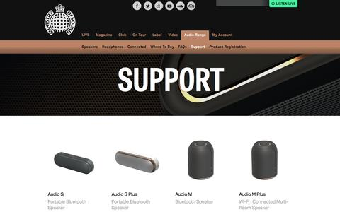 Screenshot of Support Page ministryofsound.com - Product Support | Ministry of Sound Audio Range - captured Jan. 13, 2016