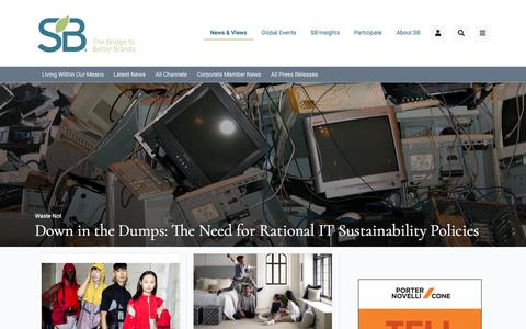 Screenshot of Home Page sustainablebrands.com - Sustainable Brands - captured July 22, 2019