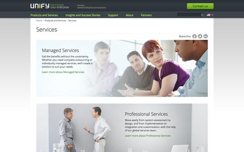 Screenshot of Services Page unify.com - Unified communications services | Secure & professional | Unify - captured Sept. 19, 2014