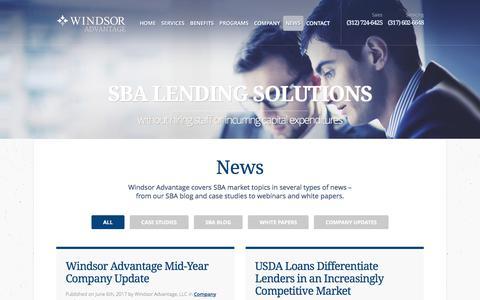 Screenshot of Press Page windsoradvantage.com - Research Publications | SBA Lending Solutions | SBA Loan Company - captured June 13, 2017