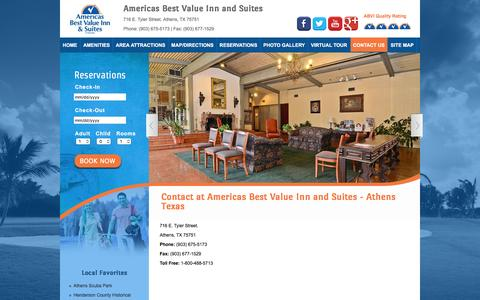 Screenshot of Contact Page abviathenstx.com - Reserve Hotel Athens, Hotels in Athens Texas. - captured June 16, 2016