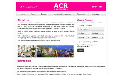 Screenshot of About Page acrproperties.co.uk - About ACR Properties   ACR Properties - captured Oct. 4, 2014