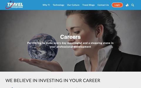 Screenshot of Jobs Page travelinc.com - Careers - Travel Incorporated - captured Nov. 8, 2018