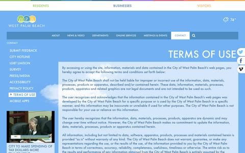 Screenshot of Terms Page wpb.org - WPB | City of West Palm Beach Contact Us - captured May 21, 2016