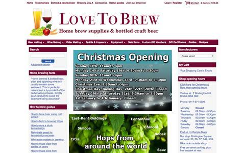 Screenshot of Home Page lovetobrew.co.uk - Love To Brew - Home brew supplies & bottled craft beer - Bristol - captured Dec. 13, 2015