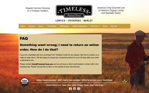 Screenshot of FAQ Page timelessfood.com - FAQ - Timeless Natural Food - captured Feb. 16, 2016