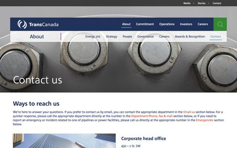 Screenshot of Contact Page transcanada.com - TransCanada — Contact us - captured Dec. 19, 2018