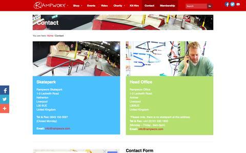 Screenshot of Contact Page rampworx.com - Contact Rampworx Skatepark - captured Sept. 22, 2014